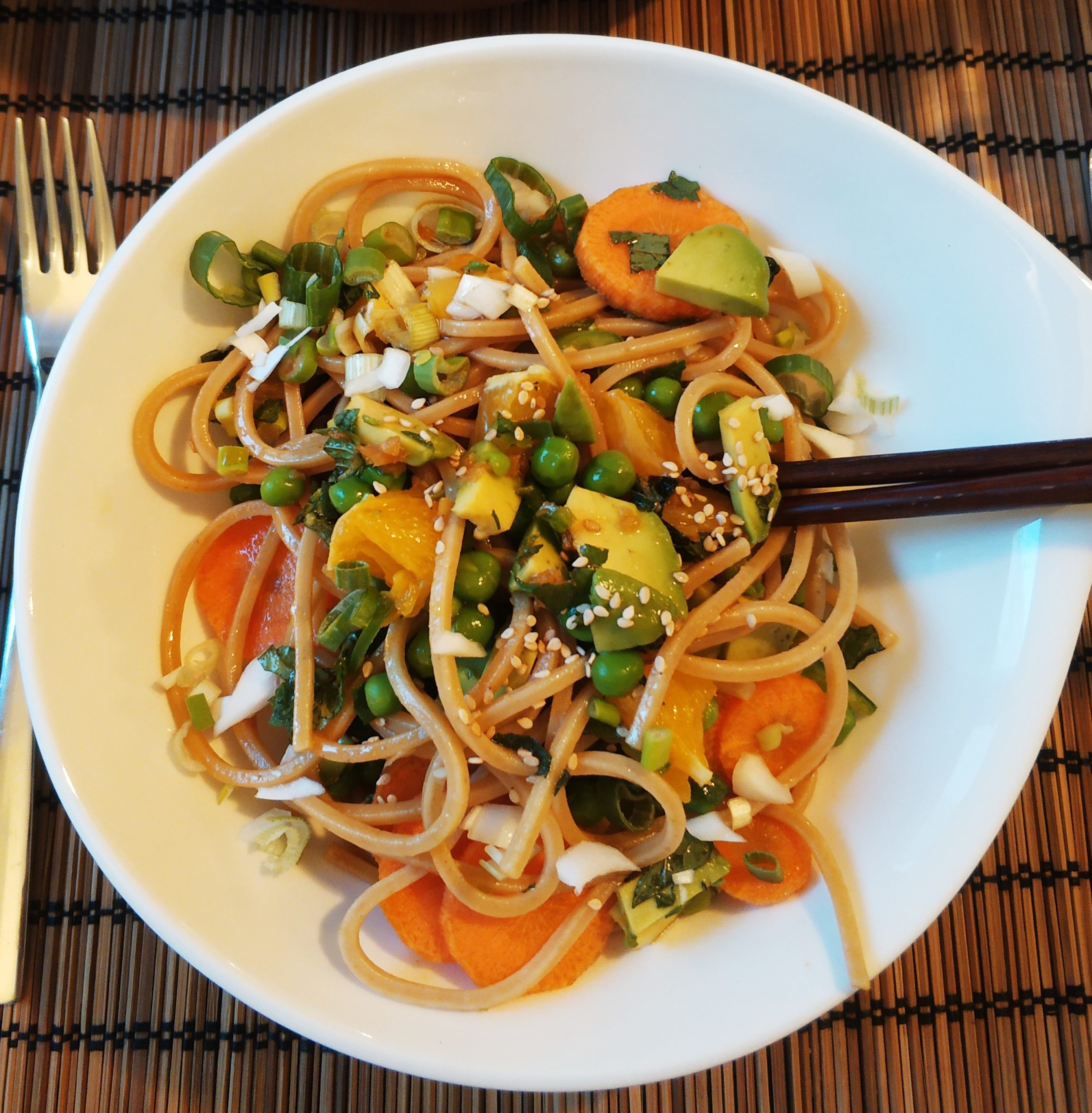 Asian Noodle Salad with Ginger dressing, Mint, Green Peas and Orange