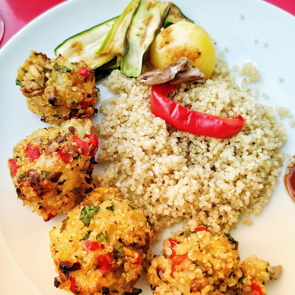 Quinoa Mushroom Red Pepper Veggie Balls with Quinoa and Roasted Vegetables
